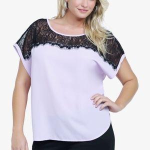 Torrid Lace Inset Lilac Blouse Size 0